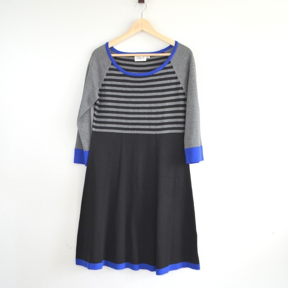 Eliza J Dresses Fit And Flare Stripe Sweater Dress Poshmark